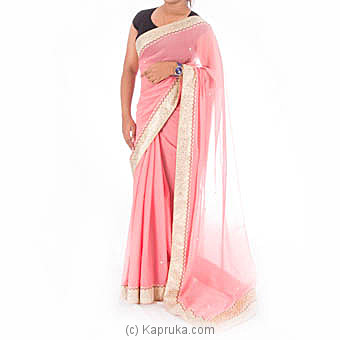 Pink Silk Gold Border Saree  With  Blouse Piece at Kapruka Online for specialGifts