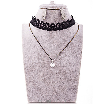 Black Lace Choker Necklace With Stone Pendant at Kapruka Online for specialGifts