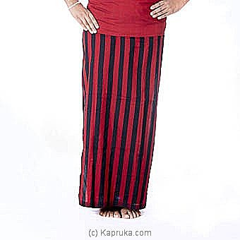 Red And Black Stripes Handloom Lungi - XL at Kapruka Online for specialGifts