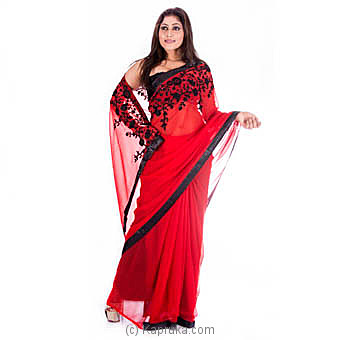 Red Embroidered Fashion Georgette Saree at Kapruka Online for specialGifts