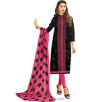 Saara Polycotton Embroidered Un-stitched Salwar Suit at Kapruka Online for specialGifts