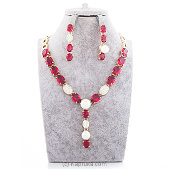 Red Stone Crystal Jewelry Set at Kapruka Online for specialGifts