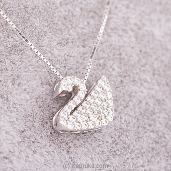 White Stone Swan Necklace at Kapruka Online for specialGifts