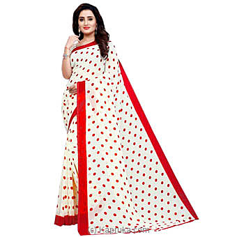 Red Faux Georgette Saree at Kapruka Online for specialGifts