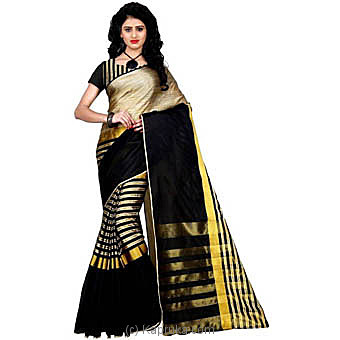 Black with Gold stripes designer saree at Kapruka Online for specialGifts