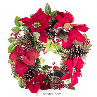 Holiday Poinsettia Wreath at Kapruka Online for specialGifts