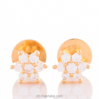 22K Ear Stud Set With 12 C/z Round at Kapruka Online for specialGifts
