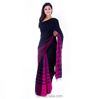 Handloom Purple Silk Saree With Black Stripes at Kapruka Online for specialGifts