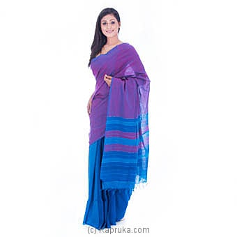 Handloom Blue Saree With Purple Stripes at Kapruka Online for specialGifts