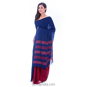 Handloom Blue Saree With Red Stripes at Kapruka Online for specialGifts