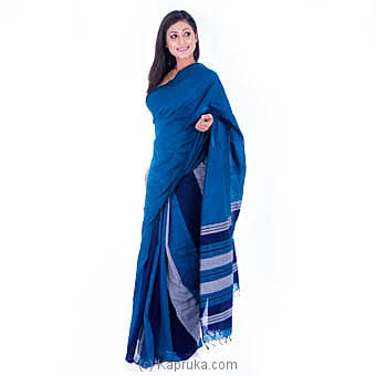 Handloom Saree With Blue And Gray Stripesat Kapruka Online forspecialGifts