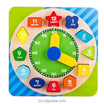 Wooden Shape Sorting Blocks Teaching Clock at Kapruka Online for specialGifts