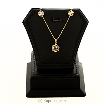 18kt Yellow Gold Pendant With Earing Set at Kapruka Online