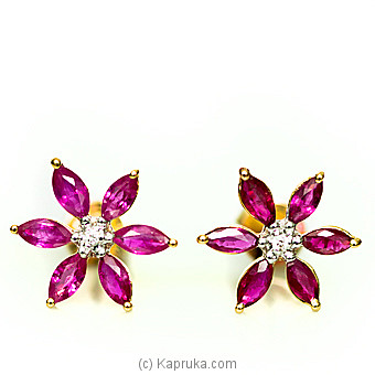 18kt Gold E`stud Set With Ruby & Diamonds-E890/1 at Kapruka Online for specialGifts
