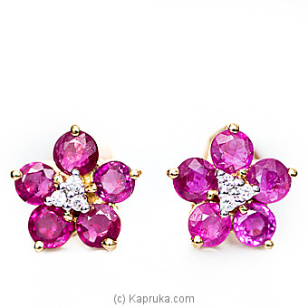 18kt Gold E`stud Set With Ruby & Diamonds-E884/1 at Kapruka Online for specialGifts