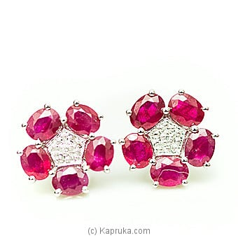 18kt Gold E`stud Set With Ruby & Diamonds-E935/1at Kapruka Online forspecialGifts