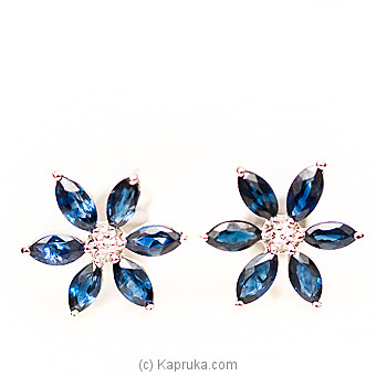 18kt W/Gold E`stud Set With Blue Sapphire & Diamonds-E890/3 at Kapruka Online for specialGifts