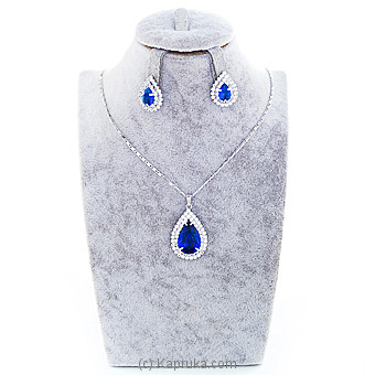 Blue Crystal Jewelry Set ( Necklace And Earrings Set) at Kapruka Online for specialGifts