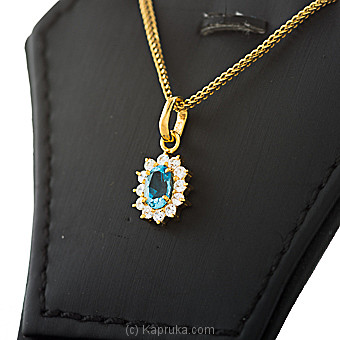 22kt Gold Pendant With Blue Topaz & Cubic Zirconia (P580/5) at Kapruka Online for specialGifts