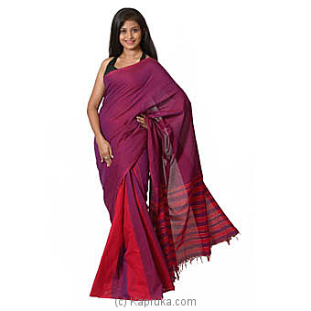 Pink And Purple Handloom Cotton Saree at Kapruka Online for specialGifts