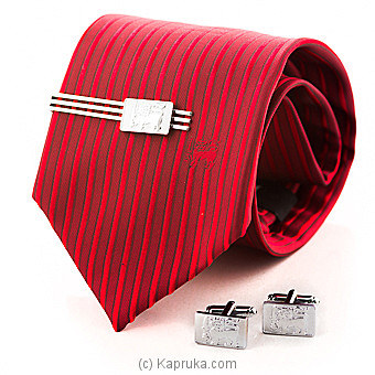Smart Red Tie With Tie Clip & Cufflinks Gift Set at Kapruka Online for specialGifts