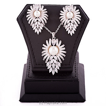 Cubic Zircon Necklace & Earing Set at Kapruka Online for specialGifts