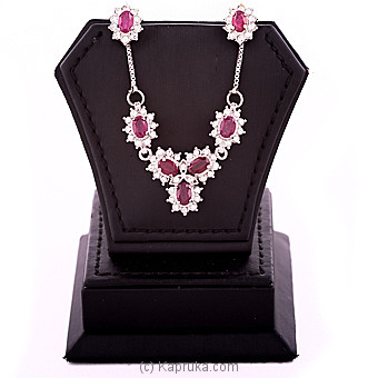 Ruby Necklace & Earing Set at Kapruka Online for specialGifts