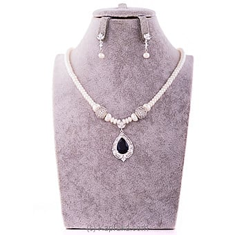 Cubic Zircon Pearl Necklace & Earing Set at Kapruka Online