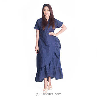 Blue Frill Linen Dress at Kapruka Online for specialGifts