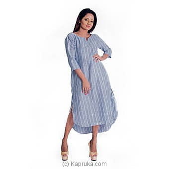 Light Blue Linen Stripes Dress at Kapruka Online for specialGifts