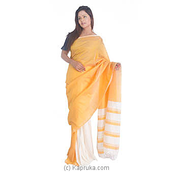 Yellow And Off White Rayon Saree at Kapruka Online for specialGifts