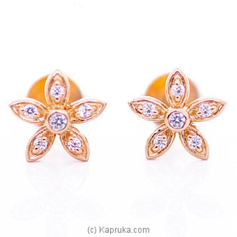 18kt Red Gold Ear Stud Set With Cubic Zirconia (E1081-1) By Mallika Hemachandra Jewellers at Kapruka Online forspecialGifts