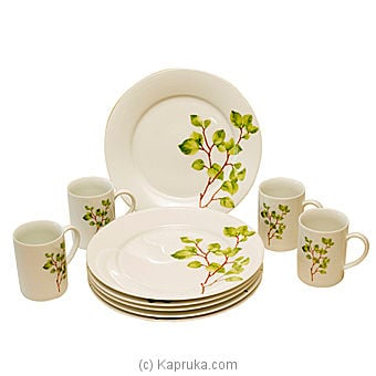 Green Leaves Plates With Mugs ? 12 pieces at Kapruka Online for specialGifts