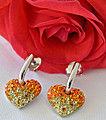 Swarovski Crystal  Heart Sparkling Silver Earrings at Kapruka Online