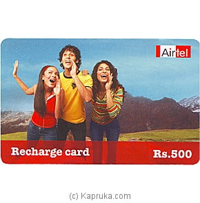 Rs 500 Airtel Prepaid Phone Card Online at Kapruka | Product# giftVoucher00Z114
