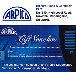 Rs. 1,000 Arpico Gift Voucher Online at Kapruka | Product# giftVoucher00Z121