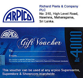 Rs. 4,000 Arpico Gift Voucher Online at Kapruka | Product# giftVoucher00Z122