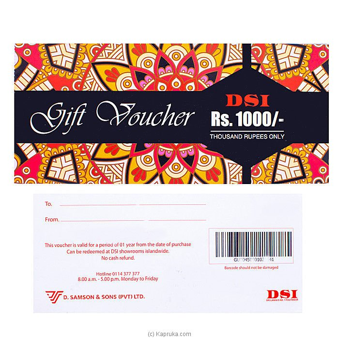 RS.1000.00 DSI Gift Voucher Online at Kapruka | Product# giftVoucher00Z127
