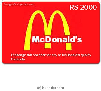 McDonalds Rs 20.. at Kapruka Online