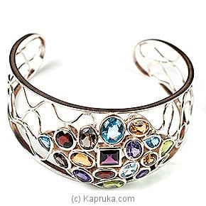Kapruka Online Shopping Product Silver Bangle With Semi Precious Stones