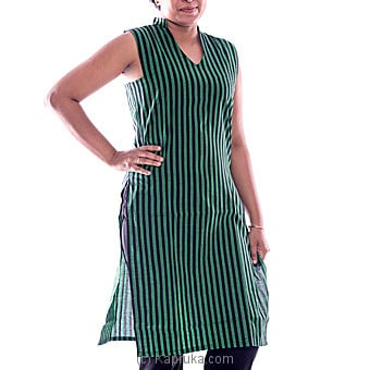 Sleeveless Green Kurutha Top With Black Stripes Medium Online at Kapruka | Product# clothing0171_TC1