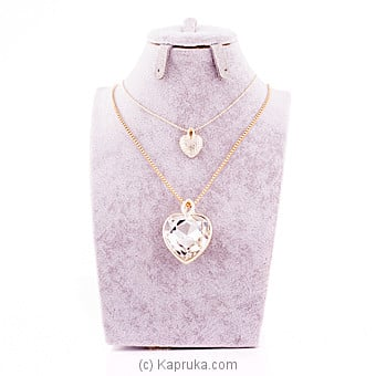 White Crystal Stone Heart Pendant With Chain Online at Kapruka | Product# jewllery00SK467