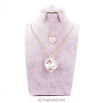 White Crystal Stone Heart Pendant With Chain - Kapruka Product jewllery00SK467