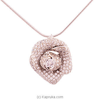 Silver Rose Necklace With Crystal Stones Online at Kapruka | Product# jewllery00SK476