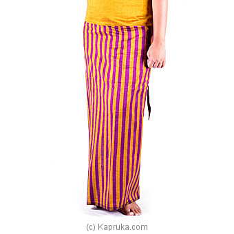 Handloom Musterd Color Lungi With Purple Stripes Online at Kapruka | Product# clothing0216