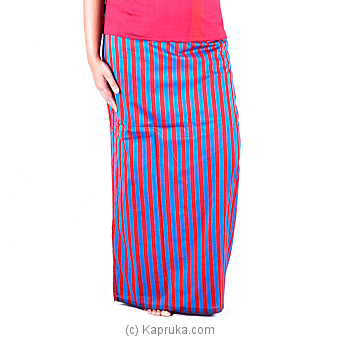 Red Handloom Lungi With Blue Stripes -XL at Kapruka Online for specialGifts