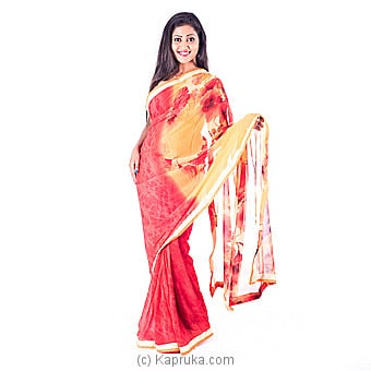 Red Floral Printed Silk Saree Online at Kapruka | Product# clothing0312