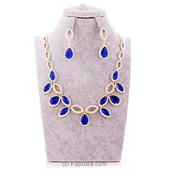Blue Crystal Stone Jewelry Set  ( Necklace and earrings set) at Kapruka Online for specialGifts