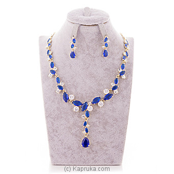 Blue Crystal Stone Jewelry Set ( Necklace And Earrings Set) Online at Kapruka | Product# jewllery00SK509