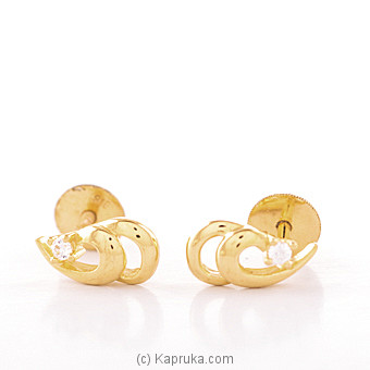 Kapruka Online Shopping Product 22K Ear Stud Set With 2 Cubic Zirconia